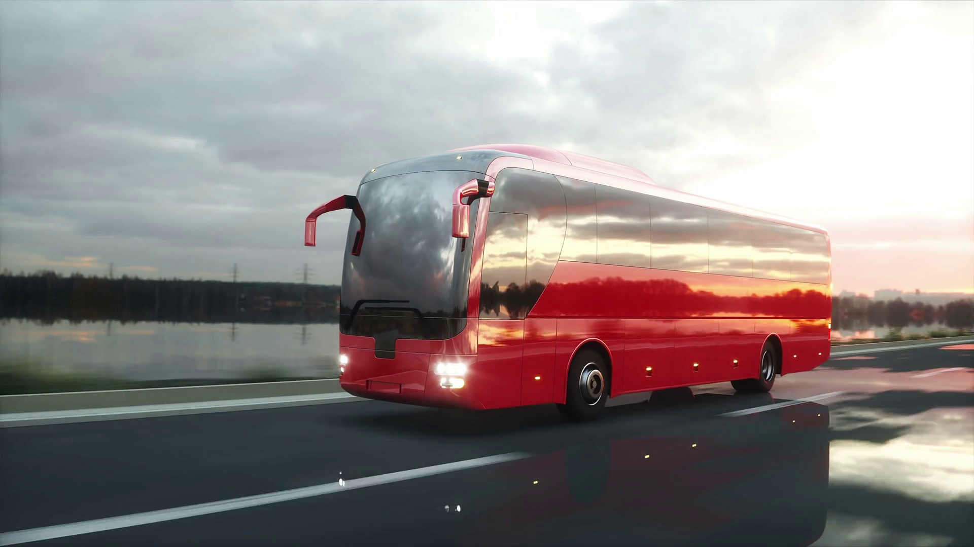 Videoblocks Tourist Red Bus On The Road Highway Very Fast Driving Touristic And Travel Concept Realistic 4k Animation Htvefmwkb Thumbnail Full01